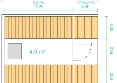 Sauna botte 2,5m