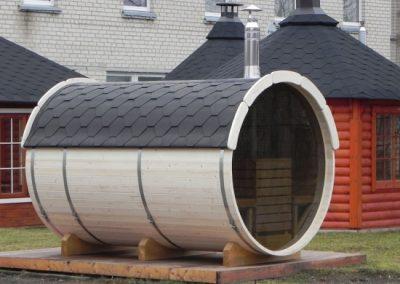 Sauna a botte vista laterale