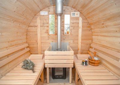 Sauna a botte finlandese stufa a legna riscaldatore