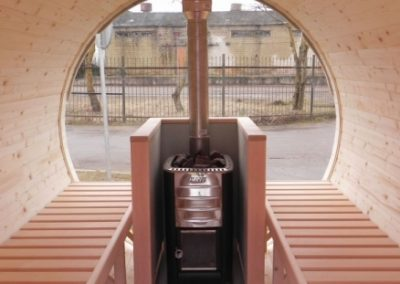 Sauna a botte vista interna riscaldatore