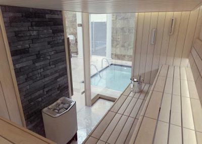 Sauna adiacente piscina