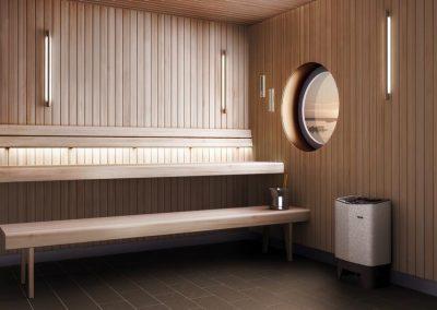 Interno sauna con oblò
