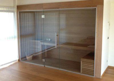Sauna vetrata da interno