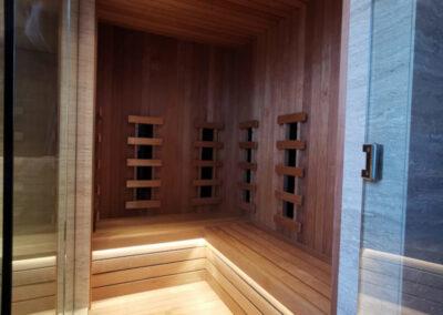 vista ingresso cabina parte sauna infrarossi
