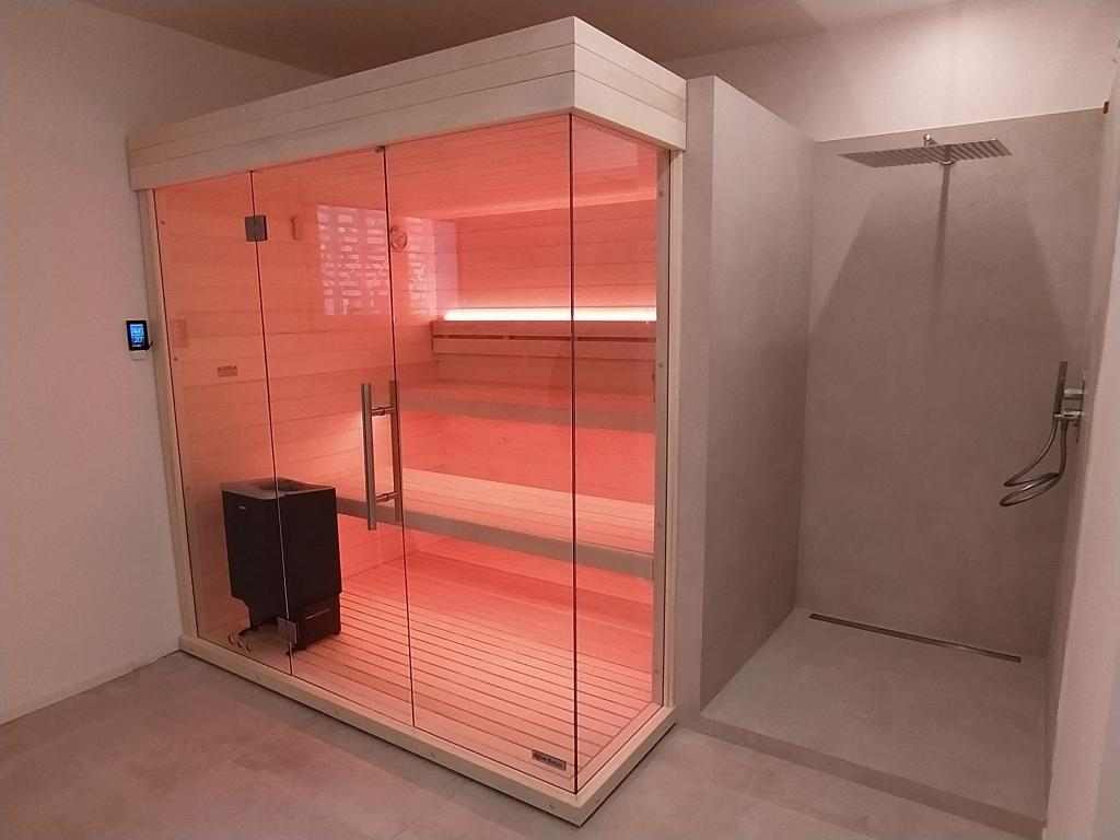 sauna con doccia combinata 180x220 cm