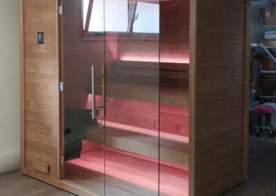 Bio-sauna con frontale vetrato